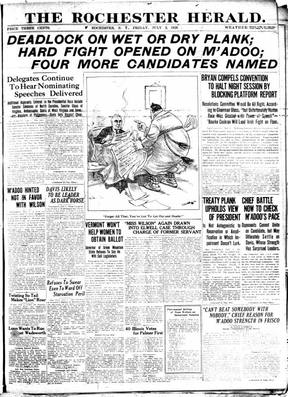 Front page, Rochester Herald, July 2, 1920