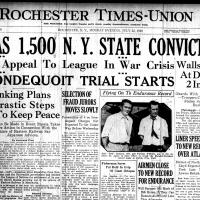 Front page, Rochester Times-Union, July 22, 1929